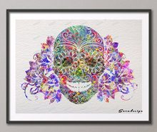 DIY Original watercolor Sugar Skull day of the dead modern wall art canvas  painting poster prints Picture living room Decoration 089b66c9ae59