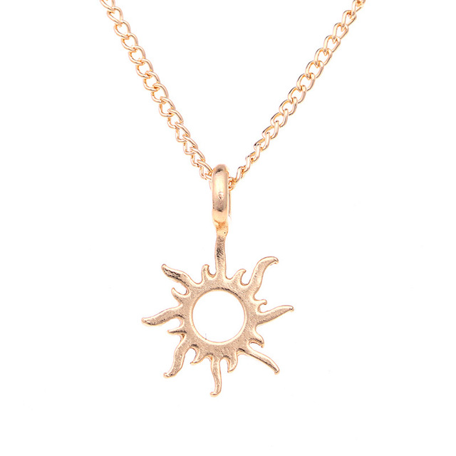 10 PCS Fashion Gold Sun Pendant Necklace Hand Stamped Jewelry Alloy