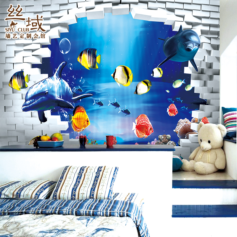 Custom photo wallpaper Cartoon wallpaper children's room bedroom large mural blue sea floor 3D wallpaper free shipping custom dolphin under sea world floor mural children room school nursery waterproof floor wallpaper mural