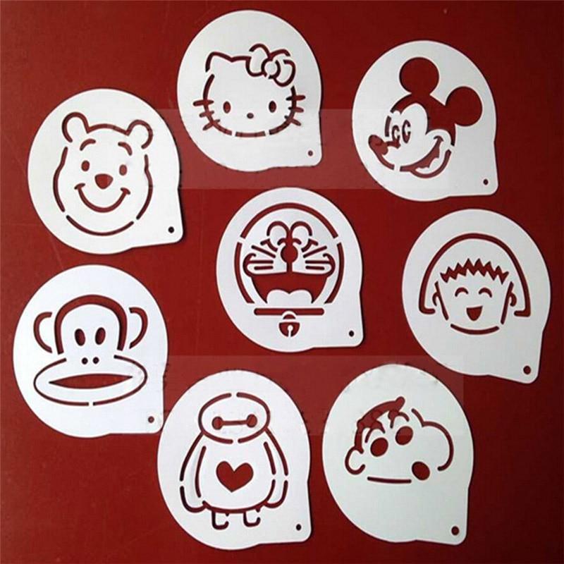 8pcs Lots Cartoon Figure Coffee Decorating Stencils Cookie