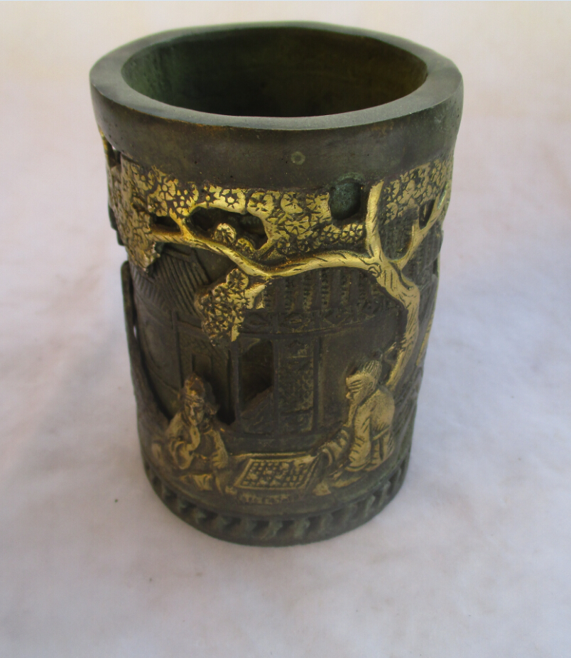 Chinois vieux Bronze doré doré sculpté
