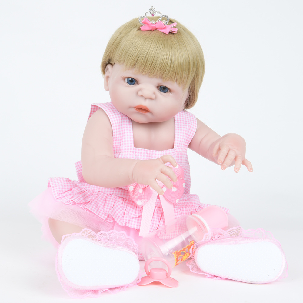 22 Inch Soft Full Silicone Vinyl Reborn Baby Doll Lifelike Girl Dolls for Children Kids Toy Birthday Xmas New Year Gift 22 inch soft full silicone vinyl reborn baby doll lovely sleeping girl dolls for children kids toy birthday xmas new year gift