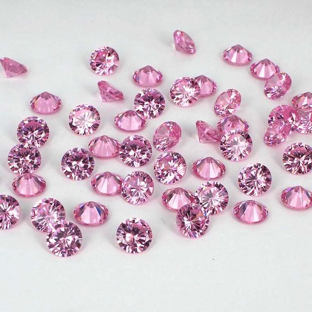 Cor Rosa claro Cúbicos de Zircônia Pedras Pointback Rodada Design Novo Beads 3D Decorações Da Arte Do Prego 4-18mm Suprimentos para Jewely DIY