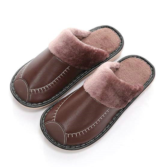 Leather Women Men Couples Home Slippers For Indoor House