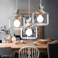 Lamps Led Lights Lanterns Restaurant Droplight Three Nordic Birds Droplight Creative Glass Chandeliers For Living Room