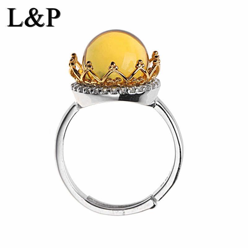 2018มาใหม่ล่าสุดที่สง่างามMaxeoสีเหลืองอำพัน925แหวนเงินสเตอร์ลิงสำหรับผู้หญิง,สีขาวCZปรับแหวนวิจิตรเครื่องประดับขายส่ง