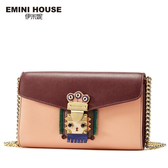 EMINI HOUSE Indian Style Falp Padlock Bag Split Leather Women Messager Bags Chain Bag Mini Shoulder Crossbody Bags For Women Shoulder Bags