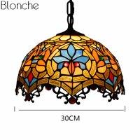 Винтаж пятнистости стекло Тиффани подвесной светильник Средиземноморский Hanglamp для гостиная кухня дома Освещение светильники деко