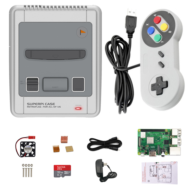 New Retroflag case SUPERPi CASE-J for Raspberry Pi 2B/3B/3B+(3 B Plus) with Functional Buttons Wired USB Game Controller