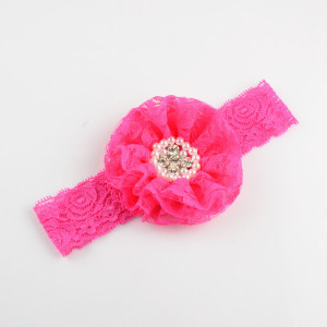 Image 2 - 50pcs/lot 3.5 inch Large Lace Flower Sew Rhine stone Centered with Elastic Lace Headband girlgirl Headdress 10 Colors FDA201