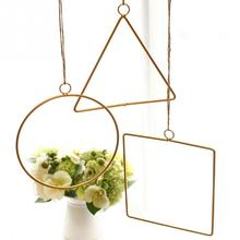 gold color round square Home decorrtion Lightweight Durable Modern Pendant Hemp Rope iron Hanging Simple Wall Festival
