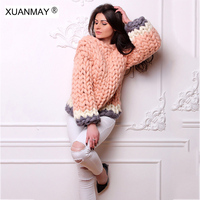 2017 new Winter handmade Sweater woman Thickened sweater Loose large size Coarse lines ultra thick Women Pullover sweater