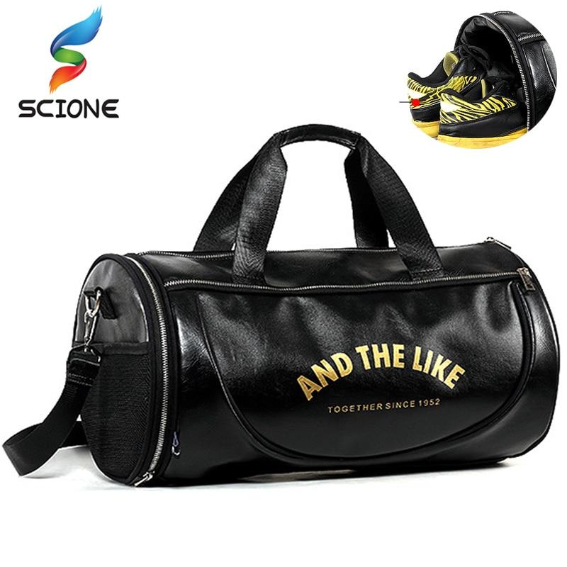 Top PU deportes al aire libre bolsa de gimnasio de las mujeres de los hombres con zapatos de entrenamiento de Fitness multifunción bolsos de hombro viajes Yoga bolso