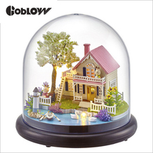 DIY Room Fashion Wooden Assembled Mini Cottage Miniature Happy Ferris Wheels One Set Doll House Furniture Wood Miniatura Toys
