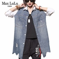 Max LuLu 2018 Korean Designer Luxury Girls Jeans Clothing Womens Punk Denim Shirts Long Sleeve Woman