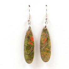цены на Trendy-beads Ethnic Silver Plated Long Water Drop Unakite Stone Earrings For Party Jewelry  в интернет-магазинах