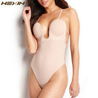 HEXIN Women U Plunge Body Suit Backless Full Body Thong Shaper Steel Bone Body Shaper Underwear