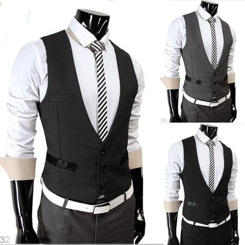 dbf87fd425 Free Shipping 2015 New Design Men Slim Fit Suit Vest Man V Neck Fake Pocket  Vest Men Business Casual Vest Waistcoat