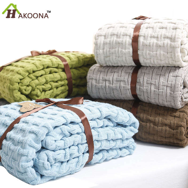 ФОТО HAKOONA Solid Double Knit Fiber Blanket Summer  Cooler Thin Quilt Office Nap Single Blanket Sheets  queen 180*120cm