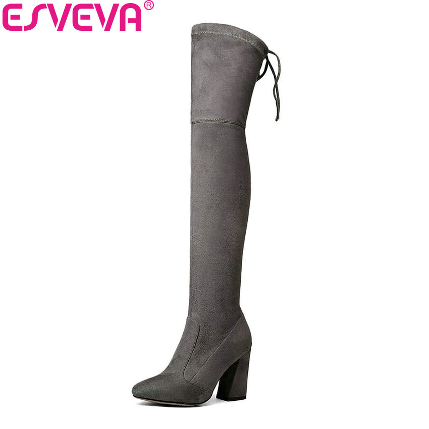 ESVEVA 2018 Women Boots Elegant Over The Knee Boots Round Toe Short Plush Ladies Party Western Style Slim Look Boots Size 34-43 nikove 2018 women boots western style high heel over the knee boots round toe spring and autumn fashion ladies boots size 34 39
