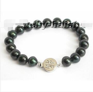 Livraison Gratuite>> new hot AAA Véritable 11mm rond Noir perle Bracelet bénisse fermoir Email à des amis