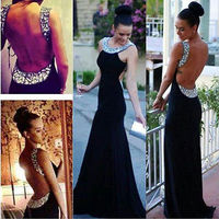 2015 Women Sleeveless Black Sequin Sexy Backless Formal Party Long Gown Maxi Dress
