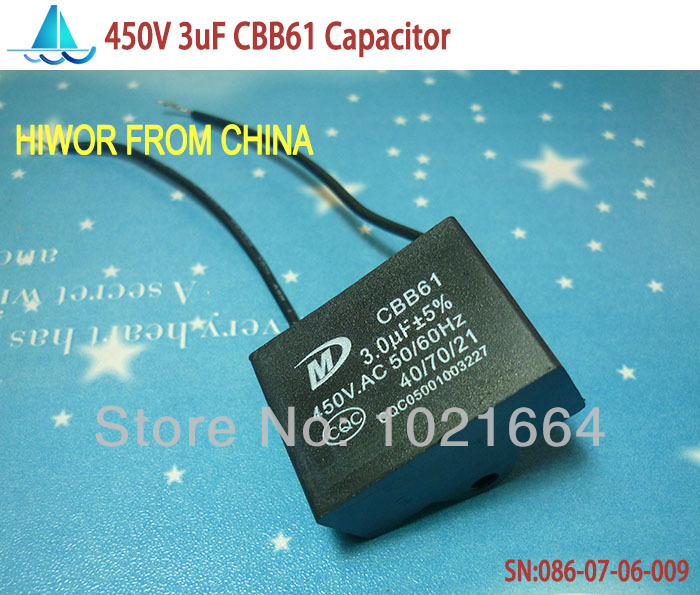 10pcs  Lot  Cbb Capacitors  3uf 450v Ac Cbb61 Metallized