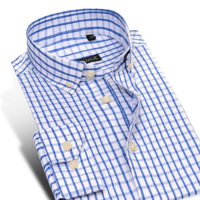 Mens Slim Fit Plaid Camisas de Vestir con Botones en el Cuello de Manga Larga Hombres Clásico Libre de Arrugas Oxford Masculina Social Camisas casuales Camisa