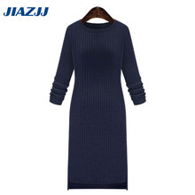 2017 Winter Dress Large-size Women's Wear In The Fall New Round Neck Knit Dress Is Long Sleeve Bottom Dress Working Clothes D28(China)
