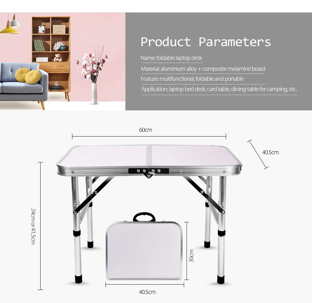 Finether Portable Adjustable Outdoor Table Ultralight Height-Aluminum Folding Table Stool Set For Dining Picnic Camping BBQ
