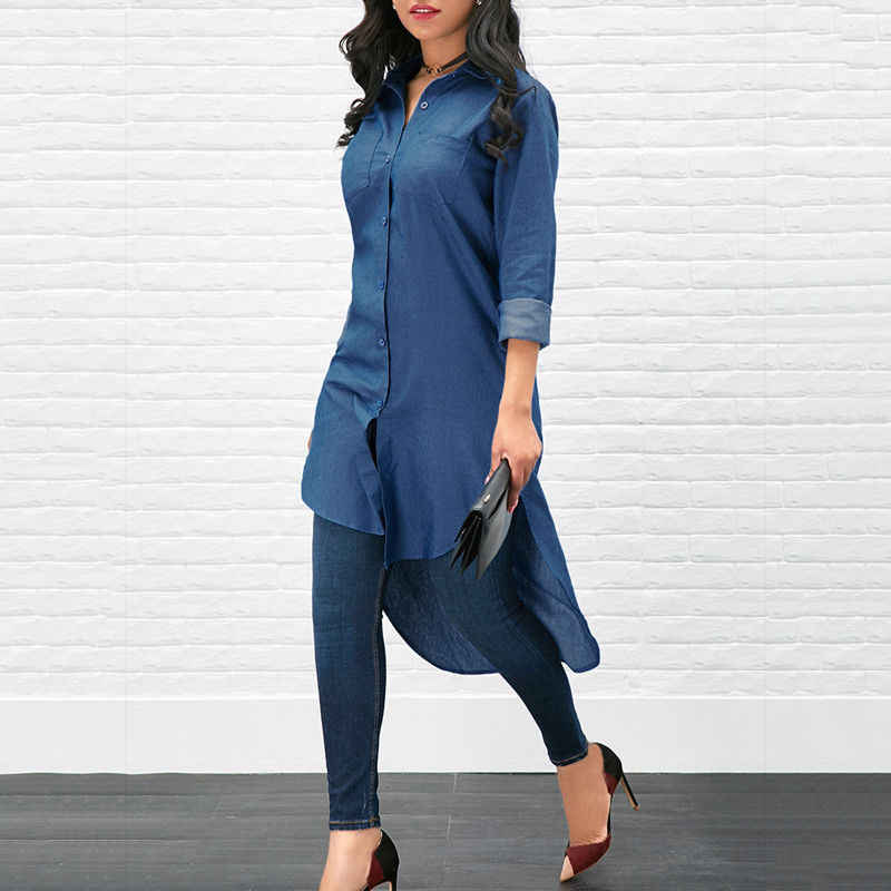 5b72c0702330 New Women's Denim Jeans Long Blouse Button Solid Long Sleeve Casual Tops  Shirt blusas mujer