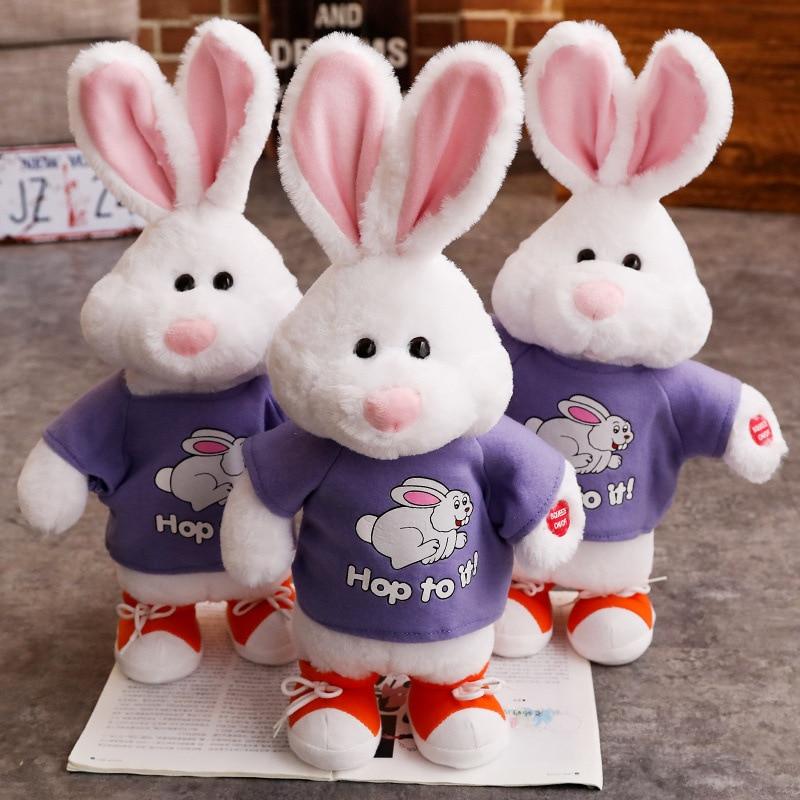 1 pièces 50 CM animaux de compagnie électroniques Robot lapin parlant sautant chantant danse mignon interactif lapin électronique en peluche jouets pour enfants
