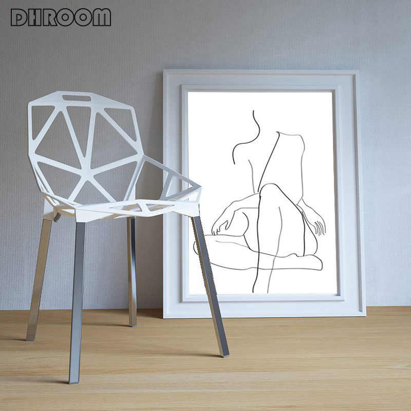 Line Drawing Woman Canvas Painting Prints Female Line Wall Art Girls Artwork Minimalism Poster One Line Figure Sketch Home Decor