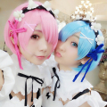 SHOWSTAR Anime Re:Life in a Different World From Zero Kara Hajimeru Isekai Seikatsu Twins Ram Rem Short Blue Pink Wigs Cosplay