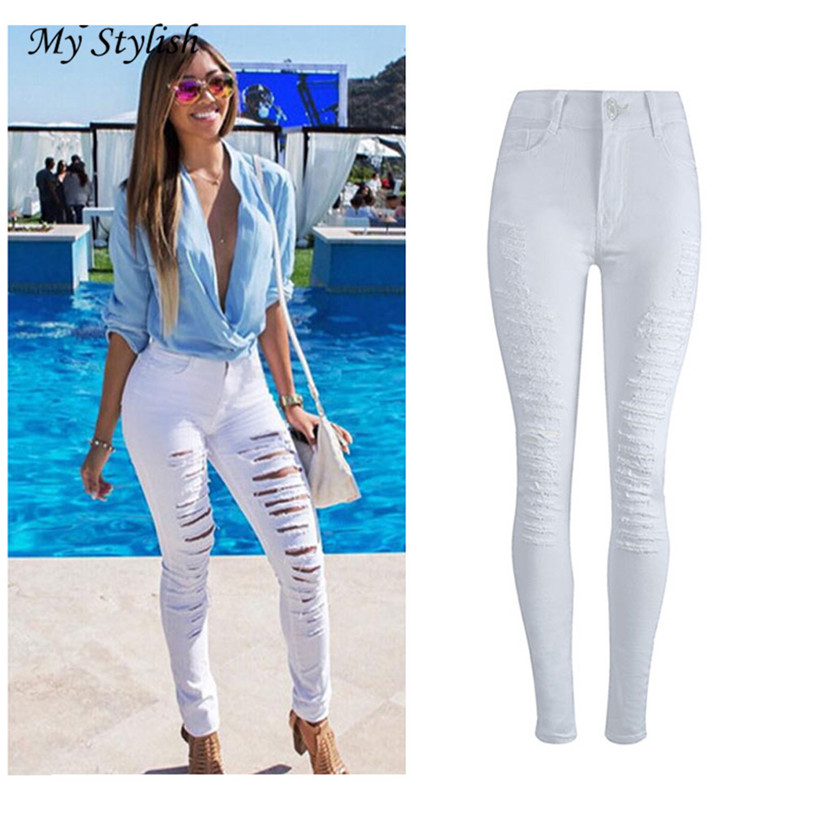 2017 New Fashion Ladies White Womens Denim Skinny Jeans Stretch Pencil Trousers Slim Long Pants High Quality Pants Trouse Dec 15 facotry price ladies womens denim skinny jeans stretch pencil trousers slim long pants high quality women trousers dec 15