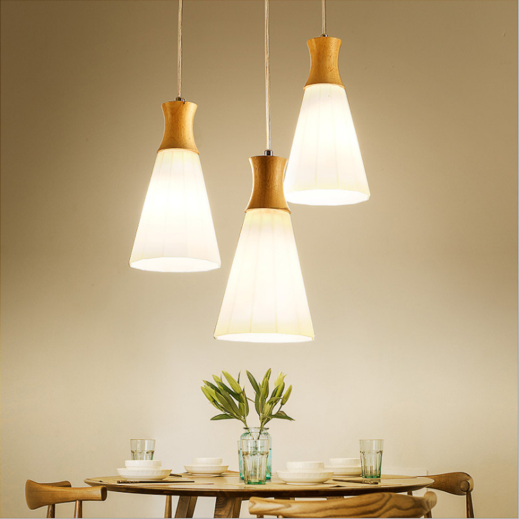 Modern minimalist Japanese-style warm dining room cafe bar counter study personality wood chandelier Ceiling E27 Lamp Holder