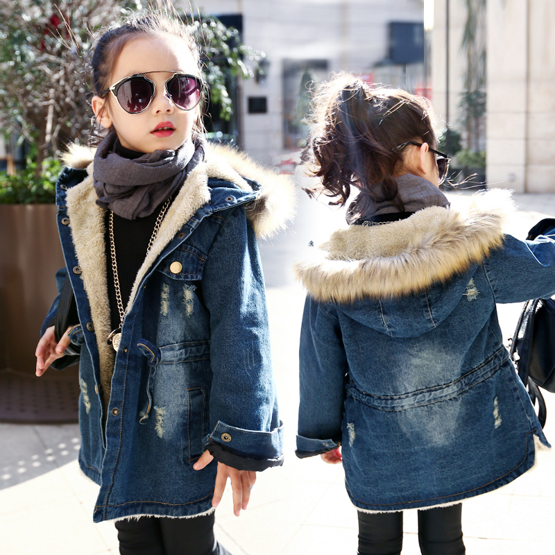 Winter Girls Long Denim Jacket Plus Parka Teen Girl Fur Collar 2018 Hooded Coat Autumn Kids Thicken Outerwear 4 6 8 10 12 years gkfnmt winter jacket women 2017 fur collar hooded parka coat women cotton padded thicken warm long jacket female plus size 5xl