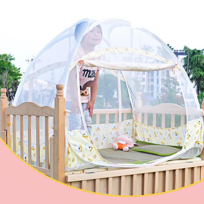 Pink yellow baby mosquito net children 39 s cot crib netting for Baby crib net