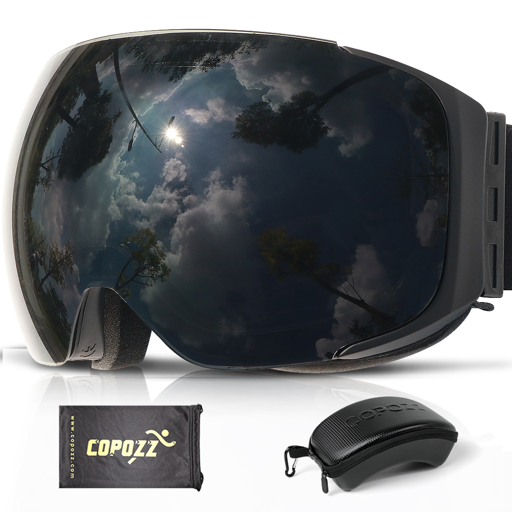 COPOZZ Brand Magnetic Snowboard Ski Goggles With Case 100% Anti-fog UV400 Double Lens Protection Men And Women Snow Ski Glasses