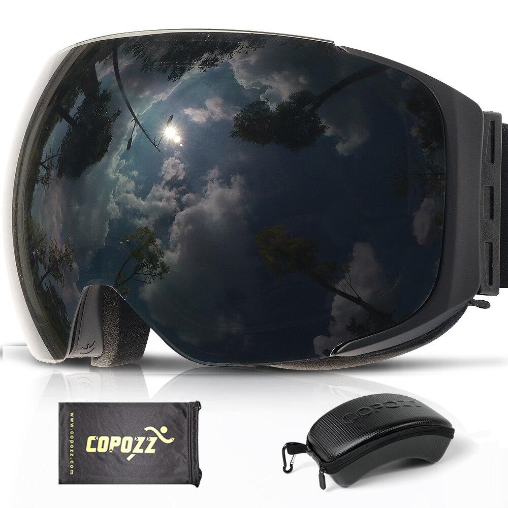COPOZZ marque magnétique Snowboard lunettes de Ski avec étui 100% Anti-buée UV400 Double lentille Protection hommes et femmes neige Ski lunettes