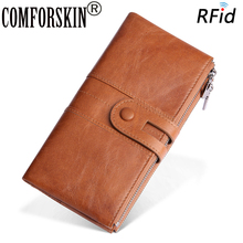 COMFORSKIN Hot Brand New Arrivals Long Vintage RFID Genuine Leather Men's Wallets Retro Men Leather Large Capacity Zipper Purse