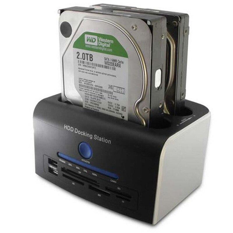 Prix pour 2.5 3.5 pouce SATA Disque Dur Lecteur Tout en 1 USB 3.0 HDD Docking Station Clone HUB USB Lecteur de Carte