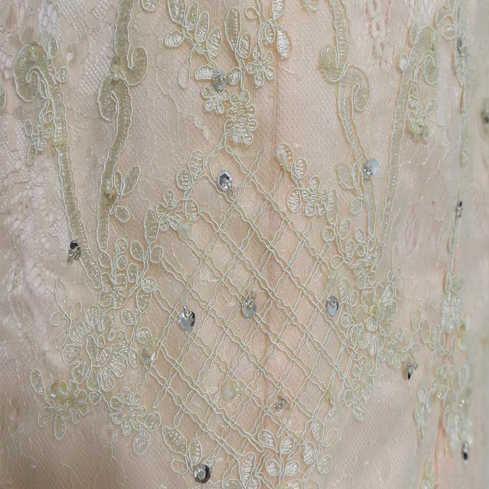 E JUE SHUNG Designer Champagne Lace Schede Kapmouwtjes Knie lengte Kralen Moeder van de bruid Jurken Korte Avondjurken - 4