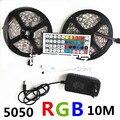 RGB LED Strip Light 5050 10M 5M led light 30LEDs/M Flexible rgb Leds tape diode strip ribbon 44key IR Controller dc 12V Adapter
