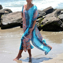 Длинная шифоновая накидка на бикини с принтом, женская накидка на бикини, женский халат на купальник, пляжный кардиган, пляжное покрывало, верх для купальника