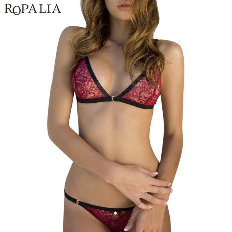 ROPALIA Soft Padded Lace   Bras     Sets   Perspective Sexy   Bras   + Seamless Underwear Suits Solid Dark Red Lingerie suits