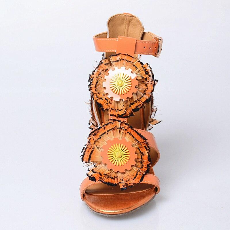 Prova Prefetto nowy styl klamra księżniczka sandały Peep Toe słodkie Rhinestone buty damskie z kwiatami i piórami wysokie obcasy buty kobieta w Wysokie obcasy od Buty na  Grupa 3