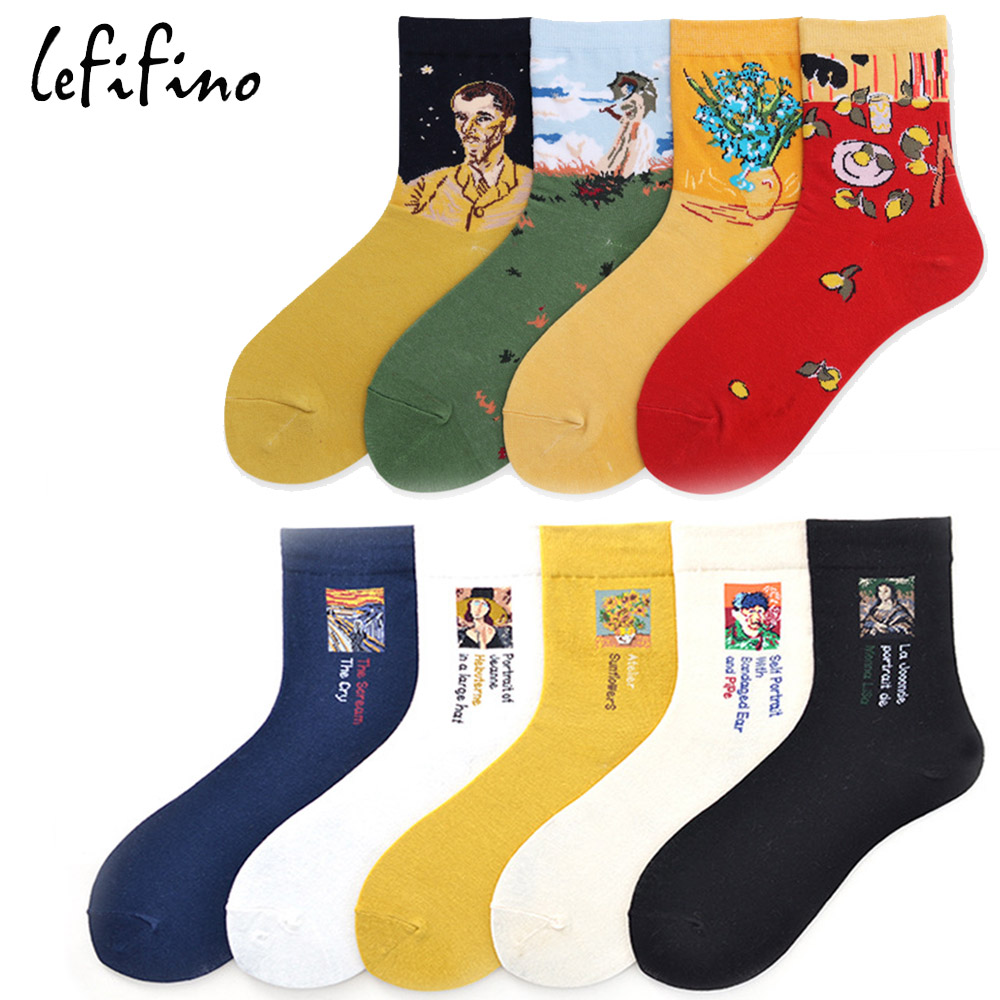 Korea Fashion Women   Socks   Ukraine Elegant Happy Cotton   Sock   Van Gogh/Picasso Famous Oil Painting Creative Knit Art   Socks   Ne56430
