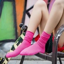 Happy Socks Women Pure Cotton Wear Long Institute Wind Female Short Heap-heap Pink Colorful Socken Japanese Fa