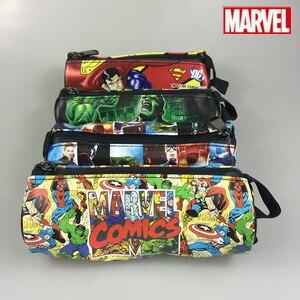 Marvel Comics Stationery Pencil Purse Case Superman Batman Captain America Spider Man Iron Men Deadpool Long Zipper Pen Wallets(China)